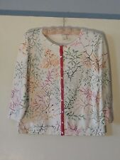 Harold's Cardigan Sweater Misses L Ivory White Pink Green Multi Cotton Rich MINT