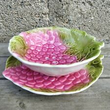 Egouttoir à fruits barbotine Italie vintage céramique fraise framboise Majolica