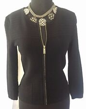 Cache Knit Front Zipper Top Jacket Sweater New Sz S Stretch $138 NWT Black