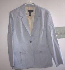 Dialogue Jacket Womens size 12 Blazer Suit Coat Blue & White Pin Stripes -HGG