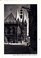 Bremen , Blick von Ratsstuben auf Dom und Rathaus , Ansichtskarte ; gelaufen