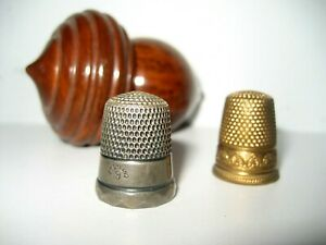 Antique WOODEN ACORN ETUI needle case holder STERLING SILVER THIMBLE & ANOTHER