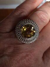 Gems TV Champagne Quartz & SS Ring