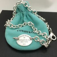 Please Return To Tiffany & Co New York Sterling Silver Oval Tag Necklace
