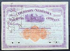 ATCHISON & NEBRASKA RAILROAD Stock 1872 Atchison, Kansas - Lincoln, Nebraska VF+
