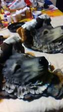 Two Collectible Large Wolf Head Busts for mantle wall art