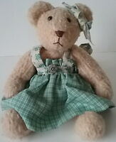 Teddy Bear Girl Green Dress Canadian Miniature Toy Artisan Barbara Logan Jointed