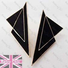 LARGE 8cm BLACK ENAMEL EARRINGS modernist BIG STUD EARRING gold fashion