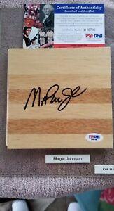 Magic Johnson Autograph 6x6 Custom Engraved Wood Floor Piece PSA/DNA Certified.
