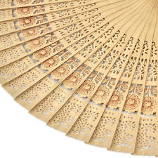Chinese Folding Bamboo Original Wooden Carved Hand Fan fit Wedding PartyFu