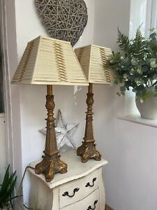 Pair HUGE Statement Vintage Ornate Antique Gold Table Lamps Laura Ashley Shades
