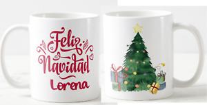 Taza personalizada Feliz Navidad  Árbol con Regalos + Regalo Navideño
