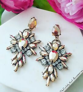 Statement rose gold & white crystal drop cluster cocktail chandelier earrings