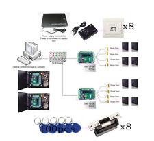 TCP/IP 8 Door Access Control System Kit ANSI Strike Lock Keypad Reader Power Box