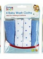 Baby Face Wash Cloths Pack Of 4 - Machine Washable (Blue)