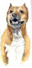 Original Watercolor American Pit Bull Dog Painting