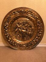 "Vintage 22 1/2"" Repousse Brass Wall Hanging Plate English Pub Scene Made England"