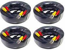 4pcs 50ft Video Power All-in-One CCTV Cable Support HD-CVI, HD-TVI, AHD. black