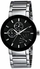 Bulova Men's 96C105 Classic Day and Date Stainless-Steel Black Dial Date Watch