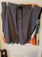 NEW Zeroxposur  Men's Swim Trunks Board Shorts Size XXL UPF 50+ Space Gray Lined
