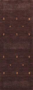 Geometric Gabbeh Oriental Modern Runner Rug Wool Hand-knotted Hallway Carpet 3x8
