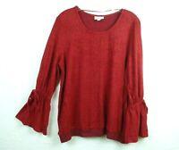 Style/&Co Womens Sweater Black Keyhole Fringe Tassel Tie Neck Bell Sleeve L XL