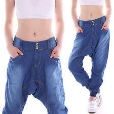 Jeans coupe boyfriend chino Baggy Harem Pantalon de taille basse Sarouel Bleu