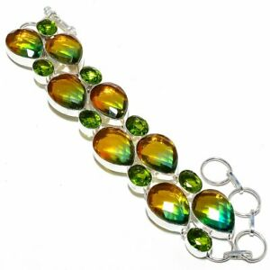 Bi-Color Tourmaline, Peridot Gemstone 925 Sterling Silver Jewelry Bracelet