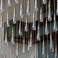 Gold Water Drop Crystal Pendant Light Luxury LED Lamp Modern Indoor Lights