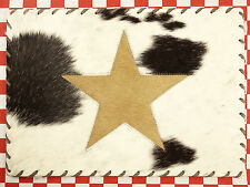 """ONE 17""""x12"""" RECTANGULAR COWHIDE LEATHER PLATE TABLE MAT HAIR ON LEATHER STAR (G)"""