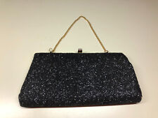 Old Vtg Evening Dinner Party Style Black Sparkly Clutch Purse Pocketbook