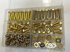 240 pcs M6 BRASS HEX HEXAGON HEAD BOLTS & NUTS & WASHERS X 12 16 20 25  KIT