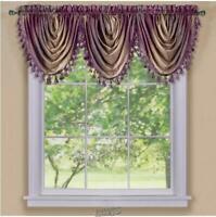 1 Valance 61?Wx49?L, Black NAPEARL European Style Luxury Waterfall Valance Living Room Window Decoration