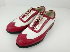 New listing Footjoy Europa Collection Red & White Sz 6.5 M Golf Shoes Soft Spikes