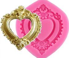 VINTAGE HEART MIRROR SILICONE MOULD/FRAME MOLD-FONDANT-BAROQUE/RESIN-ANTIQUE