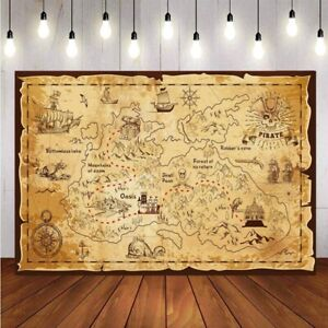 Pirate Old Treasure World Map Backdrop Baby Birthday Party Photo Background