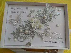 Handmade Personalised Luxury Wedding Day / Anniversary Card Silver with GIFT BOX