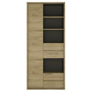 Tall Wide 1 Door 4 Drawer Bookcase Living Room Furnicture, Shetland Oak Finish