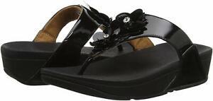 FitFlop N93 Women's Lulu Flower Sandal, Black, Size 8.0