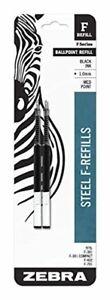 Zebra F-Series Ballpoint Stainless Steel Pen Refill Medium Point 1.0mm Black