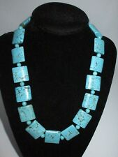 Faux Turquoise Stone Rock Collar Necklace Beaded Heavy Set Vintage Statement