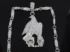 "EAGLE & TWO SKULLS SILVER TONE PENDANT CHARM 30"" CHAIN HIPHOP BLING RARE"