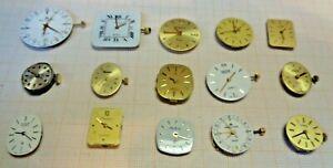 Bastlerlot mit gebrauchten defekten Quarzwerken für Armbanduhren B