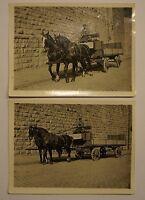 2 ALTE FOTOS BRUNNEHAASE LANGENHAGEN PFERDEFUHRWERK MIT KUTSCHER UM 1930