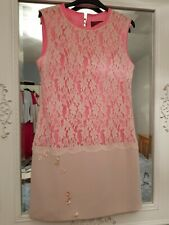 Ted Baker Hot Pink Lace 60s Shift Dress Size 2 Uk 10 Evening Formal xmas ball
