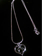 925 Sterling Silver Snake Necklace with Open Heart and Black Paw Print Pendant