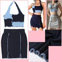 Women's Halter Neck Crop Top High Waist Split Mini Skirt Two Piece Set Clubwear