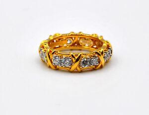 "Tiffany & Co. 18k Yellow Gold Schlumberger ""16 stones"" Diamond Band Ring # E"