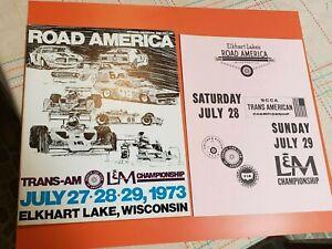 1973 Road America Elkhart Lake Trans-Am F5000 Race Program Javelin Mustang Vette