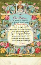 DB Religious Postcard E245 Our Father Lords Prayer Multi View Bible Verses Roses
